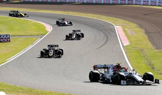 Antonio Giovinazzi, Alfa Romeo Racing C38, leads Kevin Magnussen, Haas F1 Team VF-19, Romain Grosjean, Haas F1 Team VF-19, and Kimi Raikkonen, Alfa Romeo Racing C38