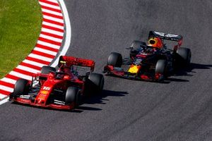 Charles Leclerc, Ferrari SF90 and Max Verstappen, Red Bull Racing RB15 battle