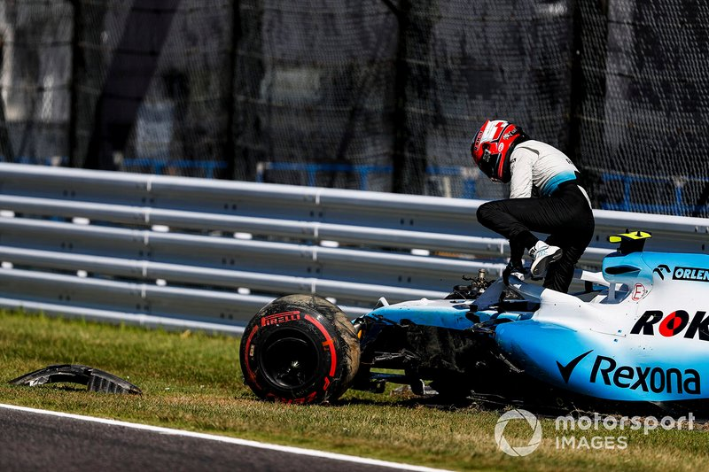 Robert Kubica, Williams Racing, lascia la sua monoposto, dopo l'incidente in Q1