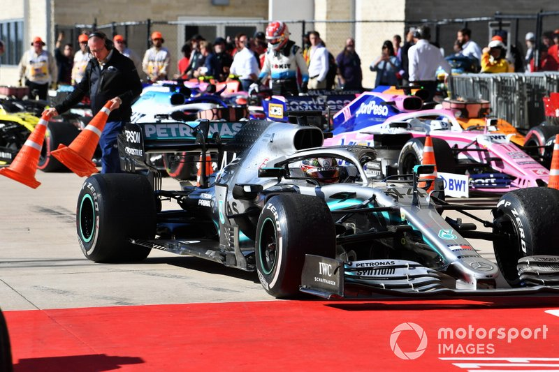 Lewis Hamilton, Mercedes AMG F1 W10, 2nd position, arrives in Parc Ferme