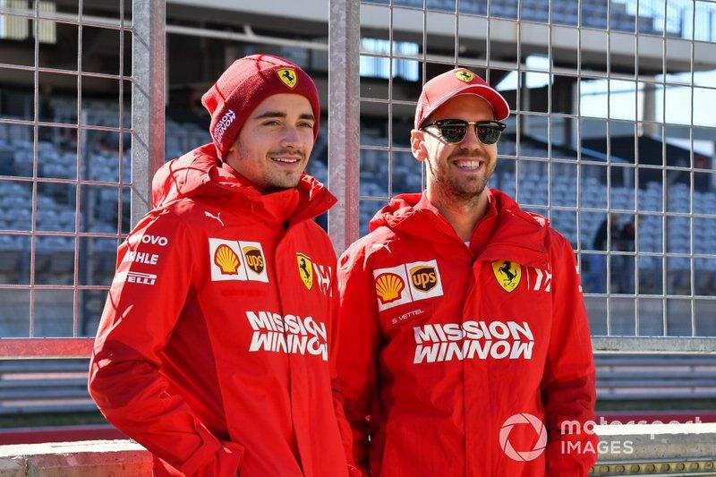 Charles Leclerc, Ferrari, e Sebastian Vettel, Ferrari