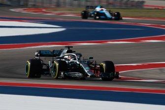Lewis Hamilton, Mercedes AMG F1 W10, leads Nicholas Latifi, Williams FW42
