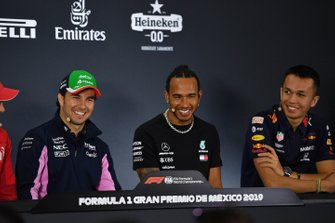 Sergio Perez, Racing Point,Lewis Hamilton, Mercedes AMG F1 and Alex Albon, Red Bull Racing in the Press Conference