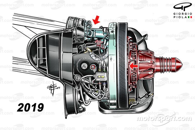 Ferrari SF90, dettaglio del piccolo bracket nella sospensione anteriore