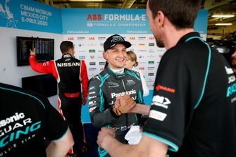 Race winner Mitch Evans, Jaguar Racing is congratulated in the media pen