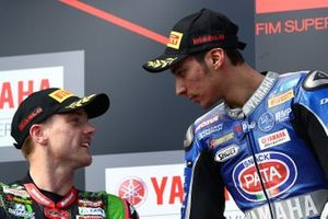 Podium: race winner Toprak Razgatlioglu, Pata Yamaha, second place Alex Lowes, Kawasaki Racing Team