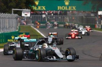 Lewis Hamilton, Mercedes F1 W07, leads Nico Rosberg, Mercedes F1 W07