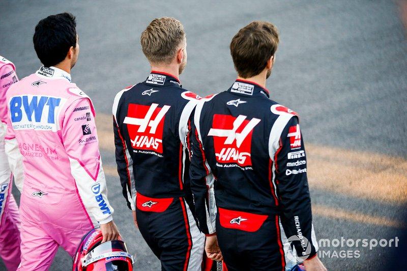 Romain Grosjean, Haas F1, Kevin Magnussen, Haas F1 ans Sergio Perez, Racing Point