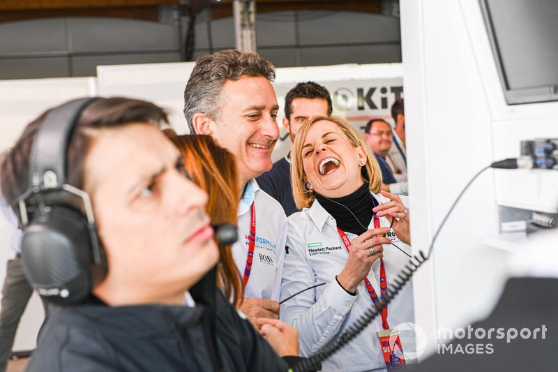 Alejandro Agag, Chairman of Formula E, Susie Wolff, Team Principal, Venturi in the garage