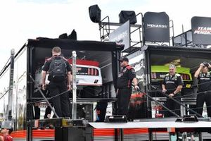 Brad Keselowski, Team Penske, Ford Mustang Discount Tire hauler and Ryan Blaney, Team Penske, Ford Mustang Menards/Richmond hauler