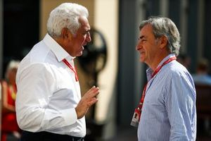 Lawrence Stroll, Owner, Racing Point, talks to Carlos Sainz