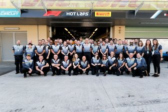 The Pirelli team pose for a group photo
