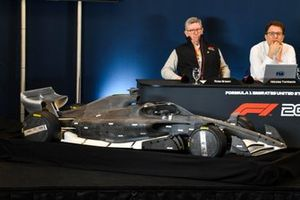 Ross Brawn and Nikolas Tombazis unveil the 2021 Formula 1 regulations in a press conference