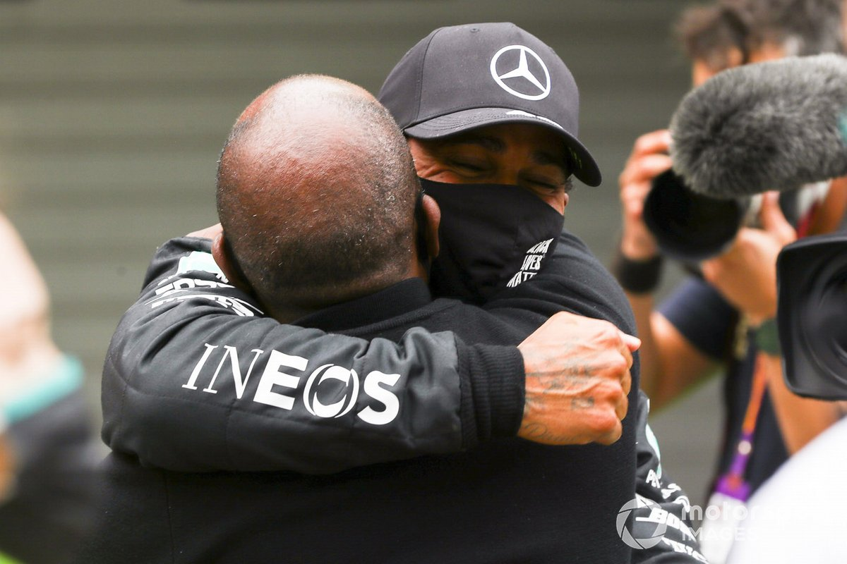 Race Winner Lewis Hamilton, Mercedes F1 celebrates in Parc Ferme with his father Anthony Hamilton after taking his 92nd Grand Prix win, the most for any driver in F1 history