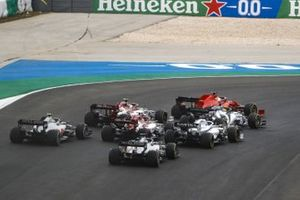 Lance Stroll, Racing Point RP20, Sebastian Vettel, Ferrari SF1000, Daniil Kvyat, AlphaTauri AT01, George Russell, Williams FW43, Antonio Giovinazzi, Alfa Romeo Racing C39, and Kimi Raikkonen, Alfa Romeo Racing C39