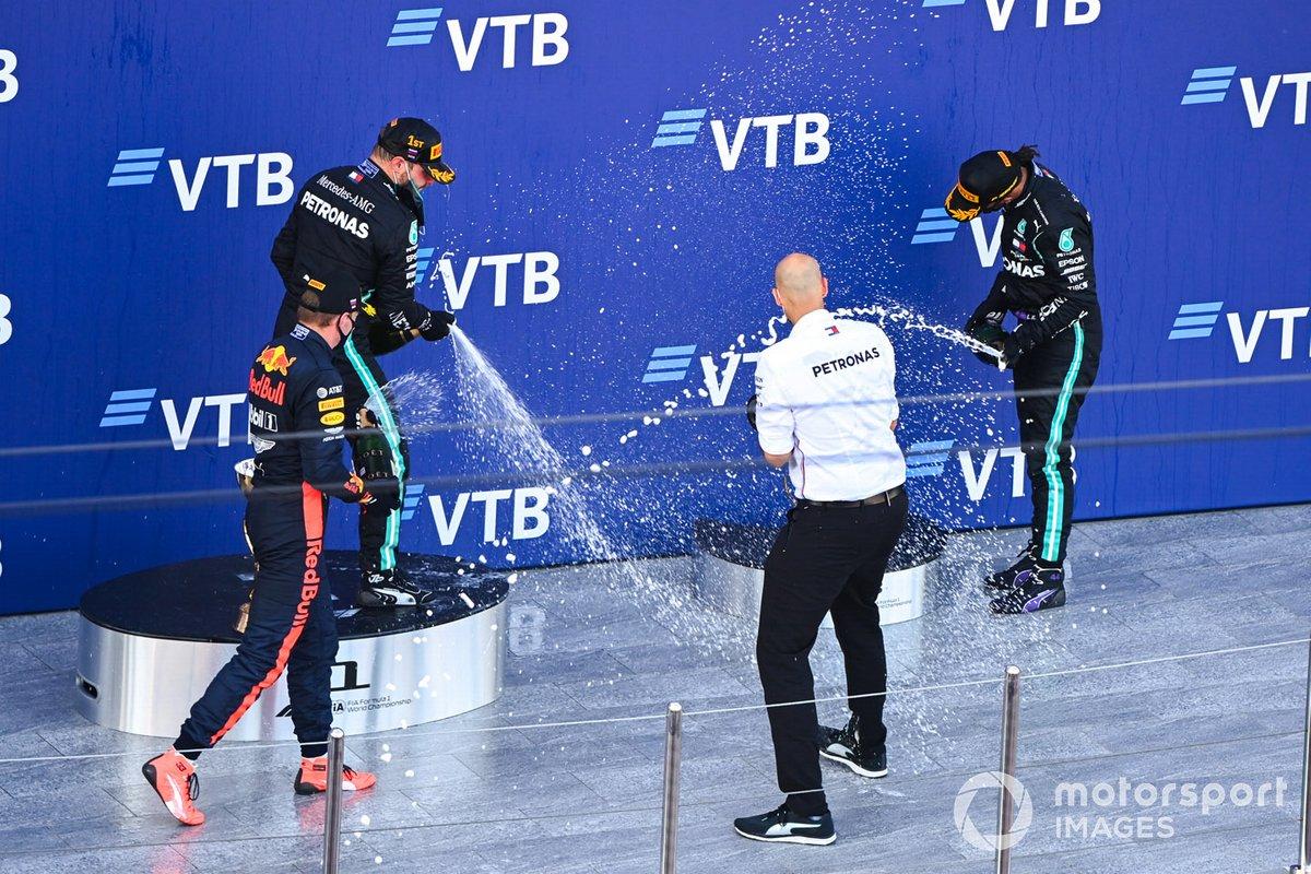 Russie - Podium : Valtteri Bottas, Max Verstappen, Lewis Hamilton