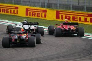 Kevin Magnussen, Haas VF-20, Charles Leclerc, Ferrari SF1000, and Alex Albon, Red Bull Racing RB16