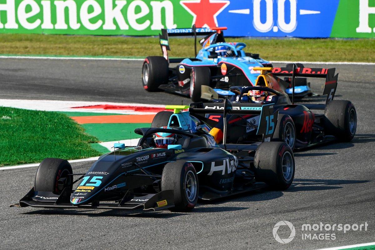 Jake Hughes, HWA Racelab, Liam Lawson, Hitech Grand Prix y Matteo Nannini, Jenzer Motorsport