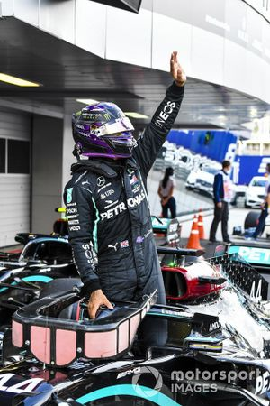 Pole man Lewis Hamilton, Mercedes-AMG F1, celebrates in Parc Ferme