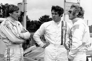 Steve McQueen, Brian Redman and Derek Bell filming on location