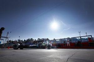 Valtteri Bottas, Mercedes F1 W11, leaves the garage