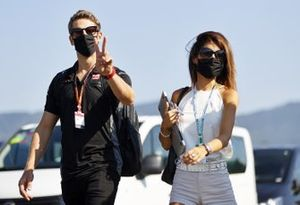 Romain Grosjean, Haas arrives at the track with his wife Marion Jolles