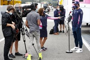 Lance Stroll, Racing Point, is interviewed after Friday's practice sessions