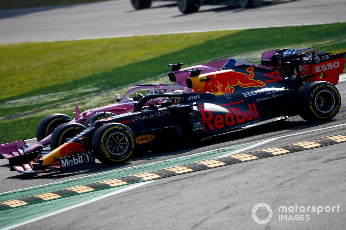 Sergio Perez, Racing Point RP20, battles with Max Verstappen, Red Bull Racing RB16