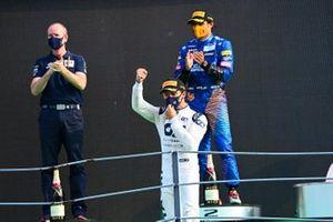 Pierre Gasly, AlphaTauri, 1st position, celebrates on the podium