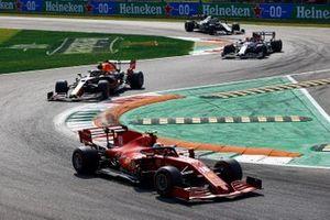 Charles Leclerc, Ferrari SF1000, Alex Albon, Red Bull Racing RB16, and Antonio Giovinazzi, Alfa Romeo Racing C39