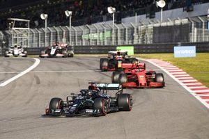 Lewis Hamilton, Mercedes F1 W11 Charles Leclerc, Ferrari SF1000 and Max Verstappen, Red Bull Racing RB16