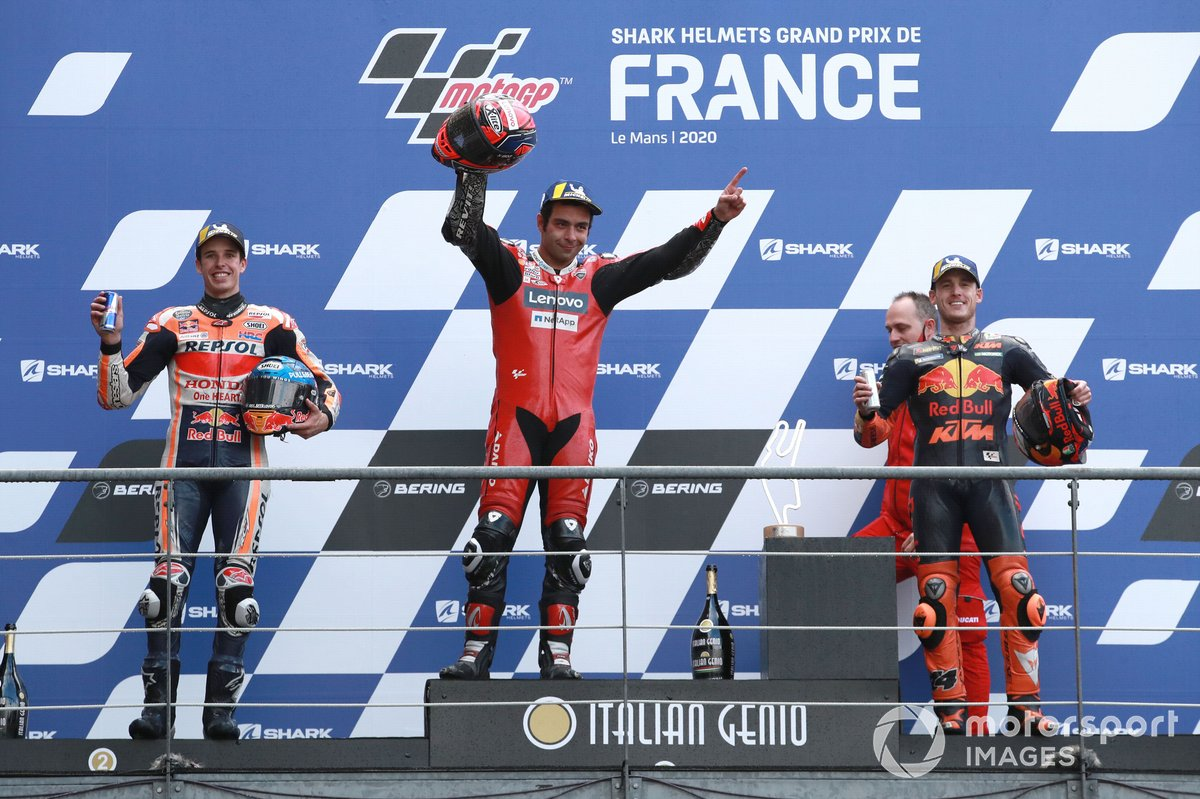 Podio: 1º Danilo Petrucci, Ducati Team, 2º Alex Márquez, Repsol Honda Team, 3º Pol Espargaró, Red Bull KTM Factory Racing