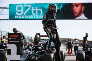 Lewis Hamilton, Mercedes-AMG F1, jumps out of his car after Qualifying