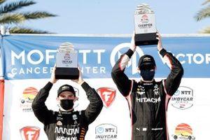 Josef Newgarden, Team Penske Chevrolet, Patricio O'Ward, Arrow McLaren SP Chevrolet celebrate on the podium