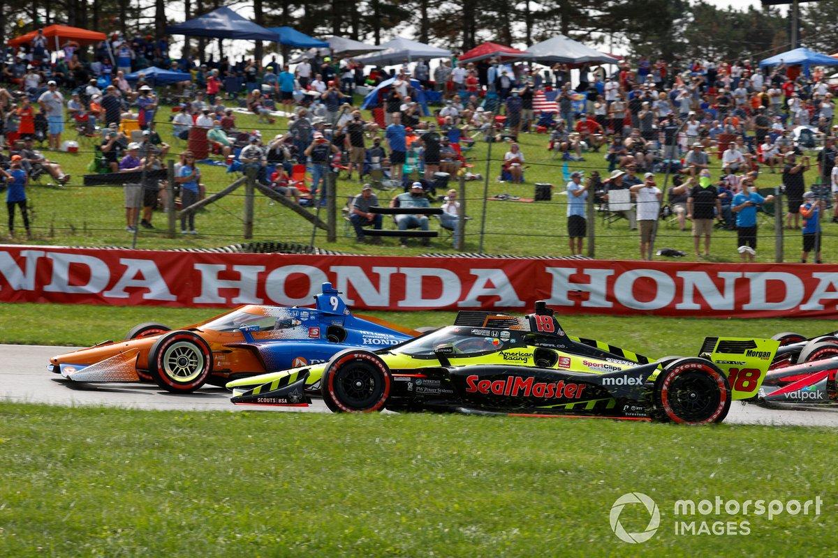 Inicio Santino Ferrucci, Dale Coyne Racing with Vasser Sullivan Honda, Scott Dixon, Chip Ganassi Racing Honda, chocan