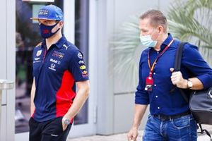 Max Verstappen, Red Bull Racing and Jos Verstappen arrive in the paddock