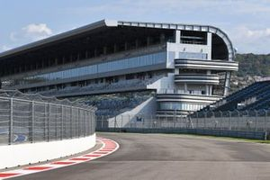 Track detail, incuding the pit straight grandstand