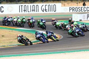 Jeffery Buis, MTM Kawasaki Motoportleads the start