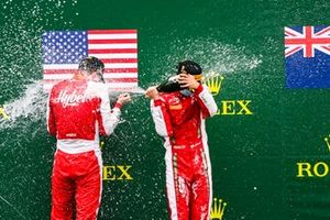 Frederik Vesti, Prema Racing and Race Winner Logan Sargeant, Prema Racing celebrate on the podium with the champagne