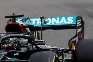 Lewis Hamilton, Mercedes F1 W11 rear wing detail