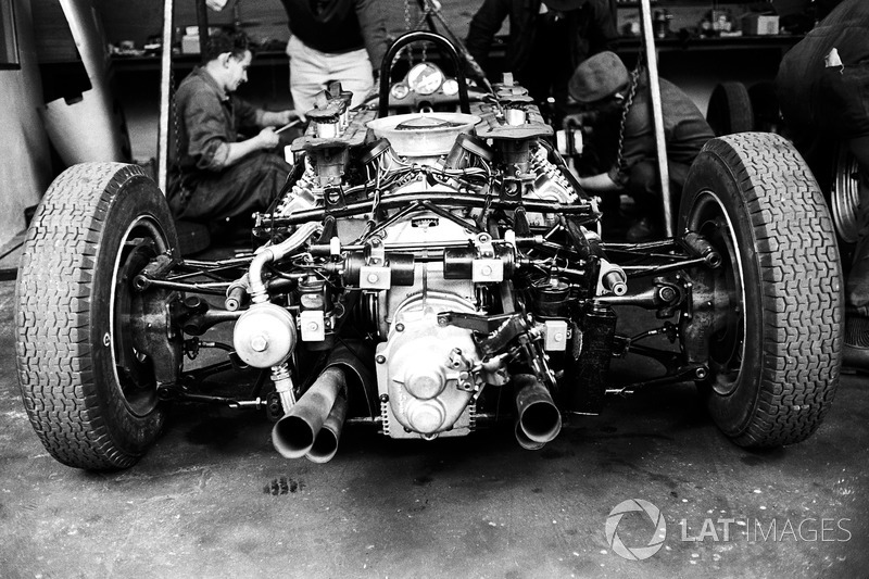 the air-cooled flat eight engine that powered the porsche 804 at french gp