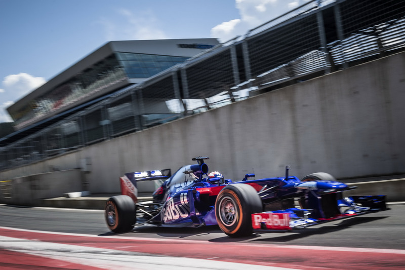 Marc Marquez drives a Toro Rosso F1