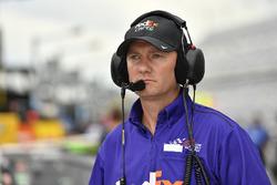 Denny Hamlin, Joe Gibbs Racing, Toyota Camry FedEx Cares crew chief Mike Wheeler