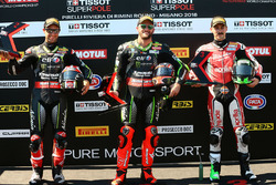 Pole sitter Tom Sykes, Kawasaki Racing, second place Jonathan Rea, Kawasaki Racing, third place Eugene Laverty, Milwaukee Aprilia