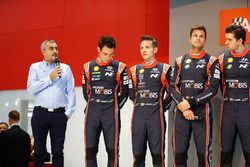 Hyundai WRC drivers on the Autosport Stage, including Thierry Neuville , Hayden Paddon and Andreas Mikkelsen