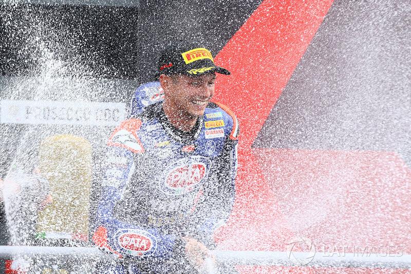 Podium: race winner Michael van der Mark, Pata Yamaha