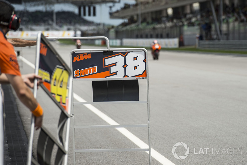 Bradley Smith, Red Bull KTM Factory Racing, pit board
