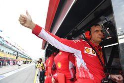 Riccardo Adami, Ferrari Race Engineer on the Ferrari pit wall gantry
