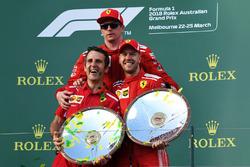 Race winner Sebastian Vettel, Ferrari celebrates on the podium with Kimi Raikkonen, Ferrari and the