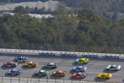 Danica Patrick, Stewart-Haas Racing Ford, Denny Hamlin, Joe Gibbs Racing Toyota and Jamie McMurray, Chip Ganassi Racing Chevrolet